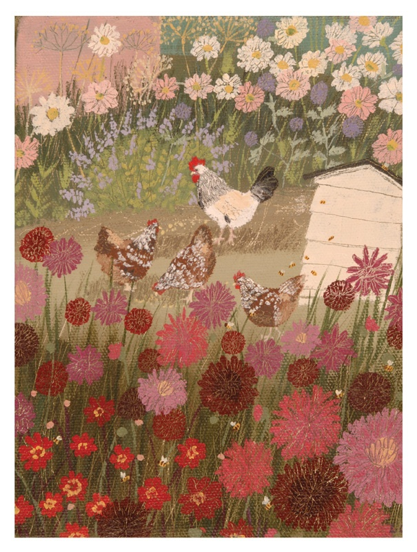 Dahlias and chickens beautiful work from Lucy Grossmith Check out her website to purchase