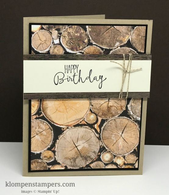 Quick & Easy Masculine card using Stampin' Up! Wood Textures DSP and Special Celebrations stamp set.