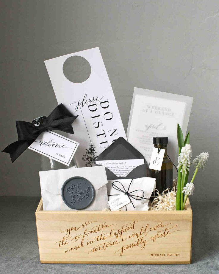 A Super-Stylish and Beautifully Personal California Wedding | Martha Stewart Weddings – Welcome boxes built by Eric, a skilled carpenter who co-owns a heating and air-conditioning company, contained favorite and local treats including olive oil from a friend's press, local walnuts, gummy bears, and a reusable tote bag.