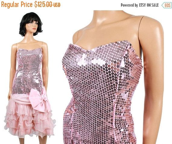 ON SALE 80s Strapless Prom Dress Jrs XS - Vintage Pink Sequins Tiered Ruffled Chiffon Gown Free Us Shipping
