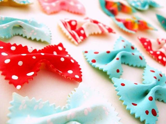 Painted bowtie pasta! Very cute designs