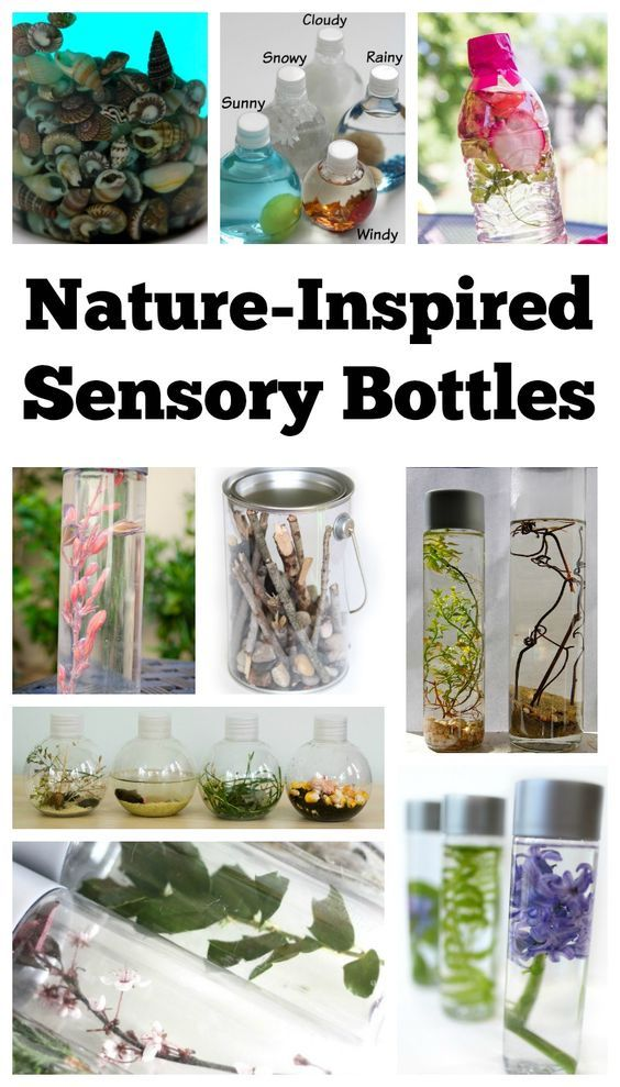 Nature-inspired sensory bottles can be used in many ways. They can be used for safe no mess sensory play, a teaching aid, a time out tool, and to help children (and adults) calm down and unwind. They are also the perfect way for babies and toddlers to safely investigate natural items without the risk of choking on them. DIY Calm Down Jar | Nature Sensory Bottle | Nature Discovery Bottle