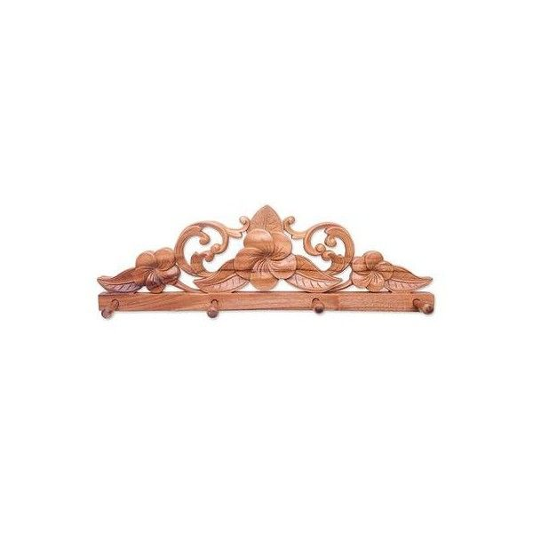NOVICA Wood Coat Rack With Carved Plumeria Flowers ($90) ❤ liked on Polyvore featuring home, home decor, small item storage, brown, coat and key holders, wall decor, coat-rack, wood holder, wooden key holder and wooden home decor