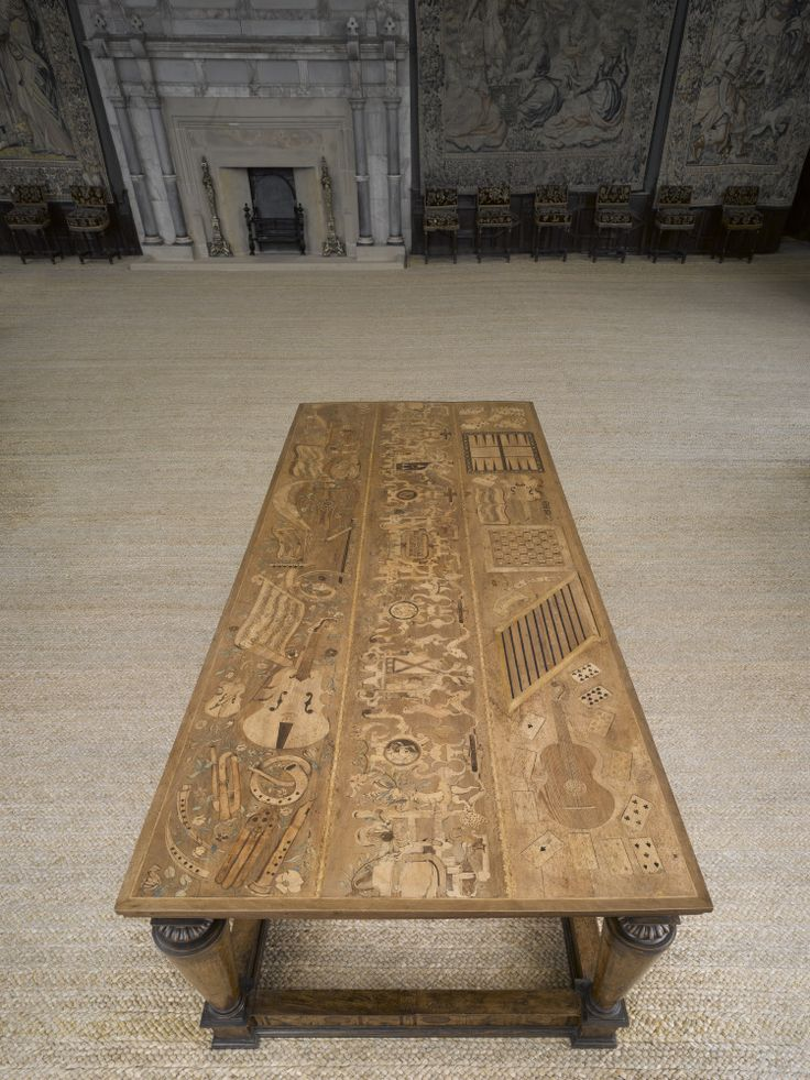 The Eglantine Table Inlaid With Musical Instruments Sheet Music Games And Arms