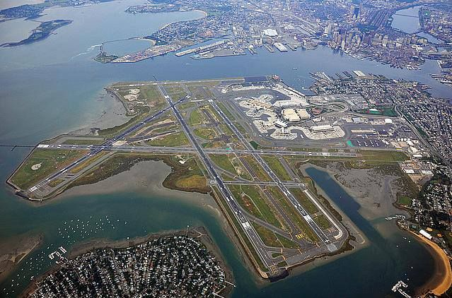 Boston-Logan International Airport is built almost entirely on top of land that, before a landfill project, used to be Boston Harbor.
