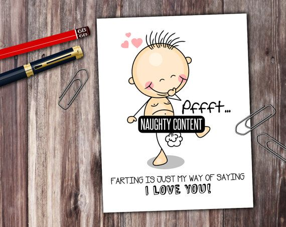 Naughty Stick People Farting I Love You Card  by PrintThatSign