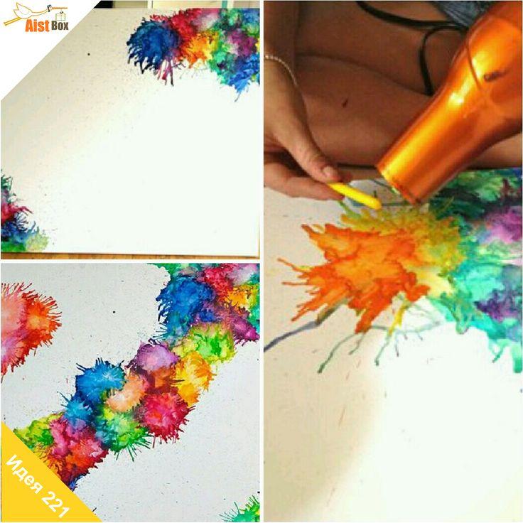 AistBox: 270 идей лета: восковой фейерверк  Рисование мелками – дело простое и интересное. Давайте внесём изменения в этот процесс и создадим настоящий шедевр! Всё, что нужно сделать – расплавить мелки.