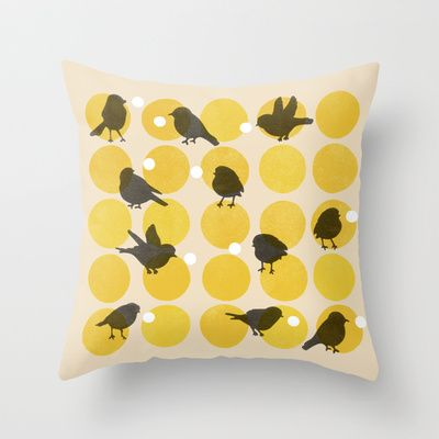 Birdsong+Yellow+Throw+Pillow+by+Garima+Dhawan+-+$20.00