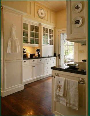 Notice the great coffee bar tucked into the side of this butler's pantry.  How simple is this. Wonderfully useful space.