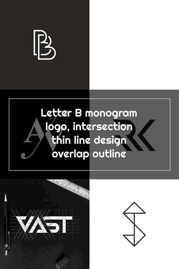 Letter B monogram logo, intersection thin line design