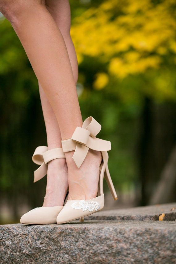 Wedding Shoes Nude Bridal Shoes Nude Heels Wedding by walkinonair