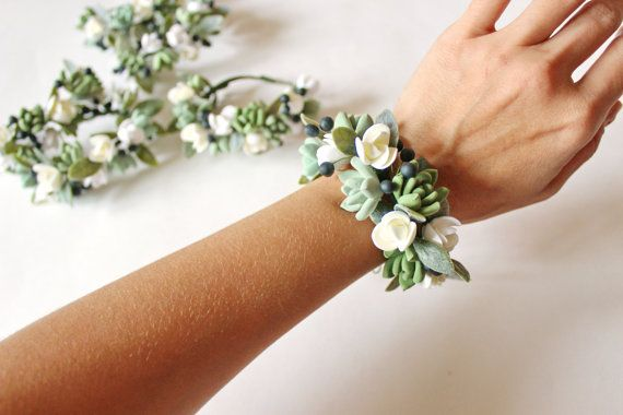 Succulent Corsage Bracelet Wedding flowers by LoveClayFlowers