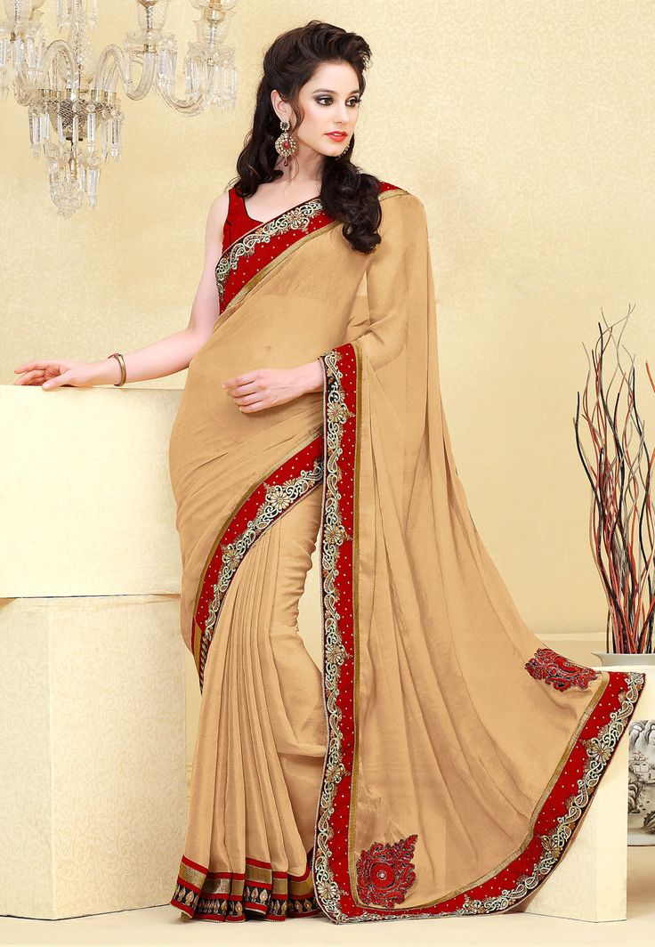 #Beige #Faux #Chiffon #Saree with Blouse @ $75.76