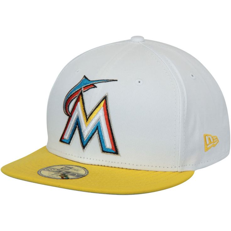 Miami Marlins New Era 59FIFTY Custom Fitted Hat - White/Yellow