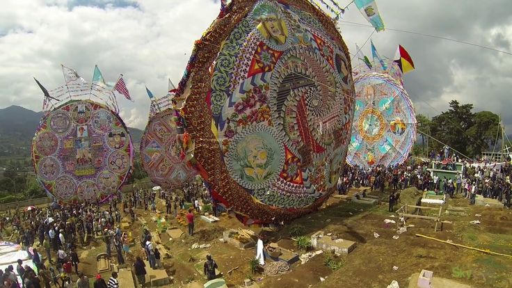 Día de Todos los Santos (otherwise known as All Saints' Day) is celebrated on November 1 around the world. The Catholic tradition focuses on the remembrance of saints, both known and unknown.  One notable celebration takes flight in the Guatemalan city of Santiago Sacatepéquez, where locals create elaborate and intricately detailed kites to fly in the local cemeteries of their lost loved ones. Attached to the tails of the kites are messages for those loved ones
