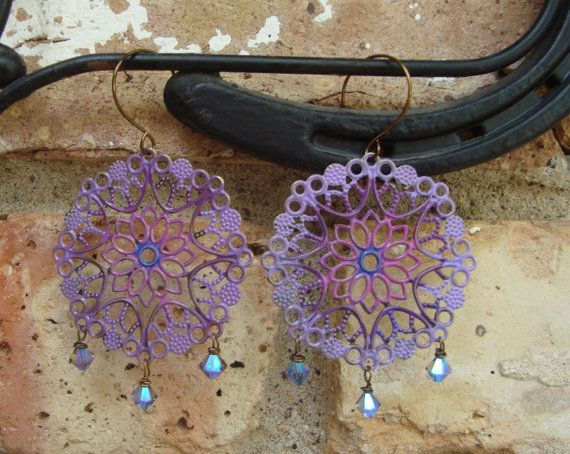 Light Purple and Ruby Pink Gypsy Filigree Dangle   Hand Forged Ear Wires   Vintaj