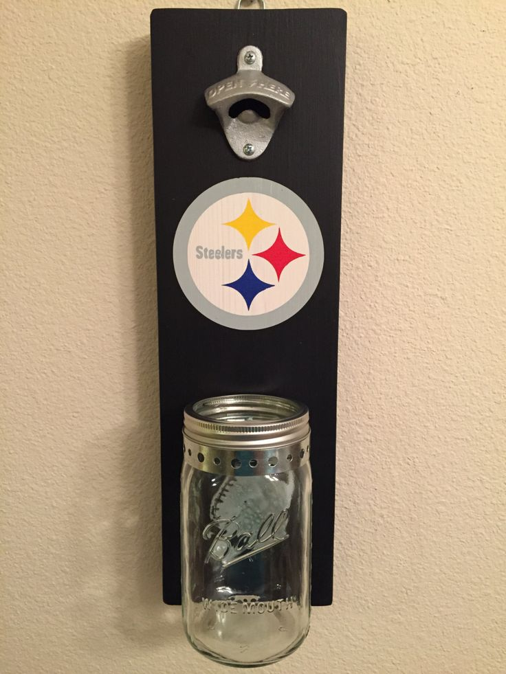 STEELERS Bottle Opener with Mason Jar Rustic Football PITTSBURGH - pinned by pin4etsy.com