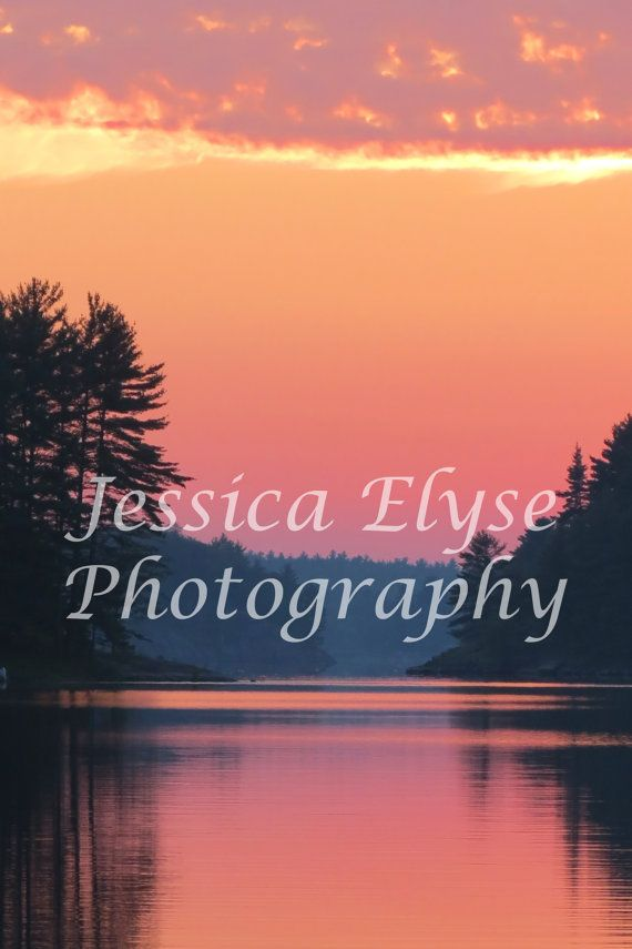 vibrant orange pink purple Muskoka sunset by jessicaelysephotos, $30.00