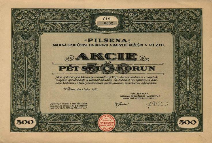 PILSENA, akciová společnost na úpravu a barvení kožešin v Plzni (PILSENA, Rauhwarenzurichterei und Färberei AG in Pilsen). Akcie na 500 Kč, Plzeň, 1920.