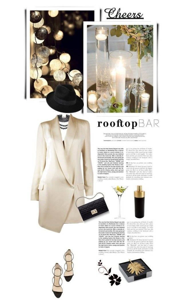 Rooftop Bar by kiki-bi on Polyvore featuring polyvore fashion style Haute Hippie Giuseppe Zanotti Penmayne of London Michael Aram Cambridge Silversmiths LSA International Andrea Christian Dior clothing summerdate rooftopbar