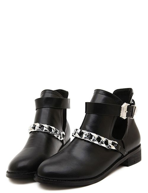Handsome  hollow-out chain zipper side low heel boots  YS-C4622