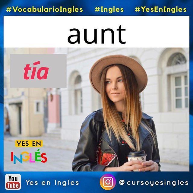 """""""Aunt"""" es la palabra de vocabulario del dia de hoy y refiere a tía  Veamos un ejemplo concreto de su uso:  Alice is my favorite aunt. (Alicia es mi tía favorita)   Como siempre puedes ver más """"Vocabulario de la familia en inglés con imágenes""""  en nuestra cuenta @cursoyesingles  El video de vocabulario está en el enlace de mi bio.   #vocabularioingles #ingles #yeseningles #aprenderingles #Inglesbasico #idiomas #inglés #english #englishman #vocabulary #vocabulario #familia #family #vocabs…"""