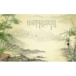 Paysage asiatique aspect ancien - Les bambous et les orchidées sauvages