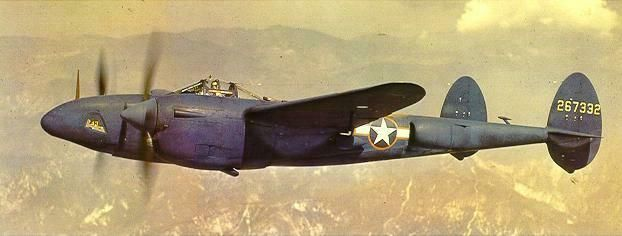 F-5B-1-LO Lightning aircraft (photo reconnaissance variant of the P-38J) painted PRU blue in flight, 1943