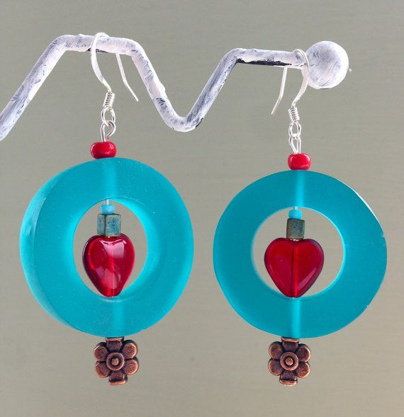SALE  Turquoise and red heart drop by Deliciousbits on Etsy