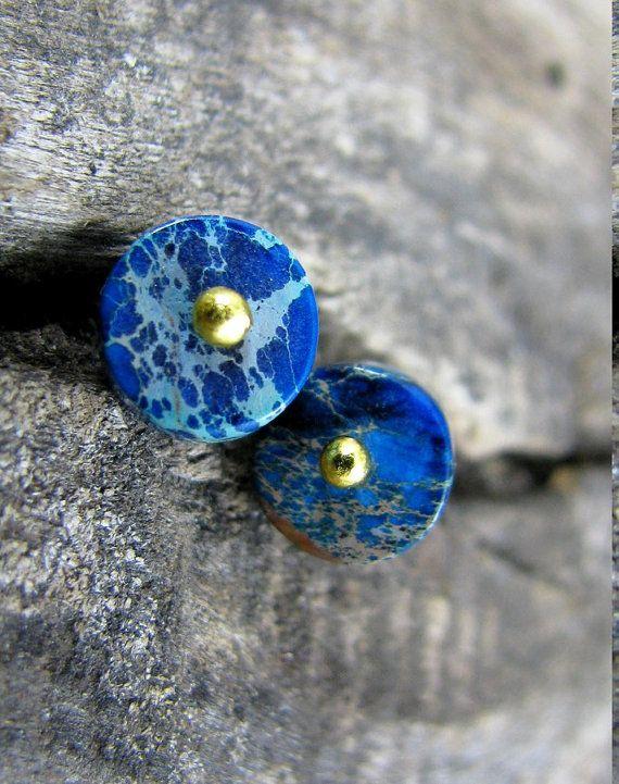 Natural jasper stud earrings Blue post earrigs by ZalewskaJewerly