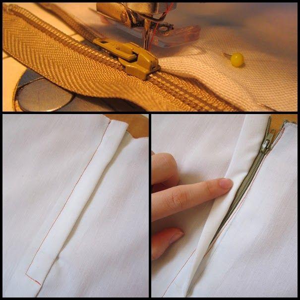 Patria da costura: Passo a passo: Pregando zíper maneira 2