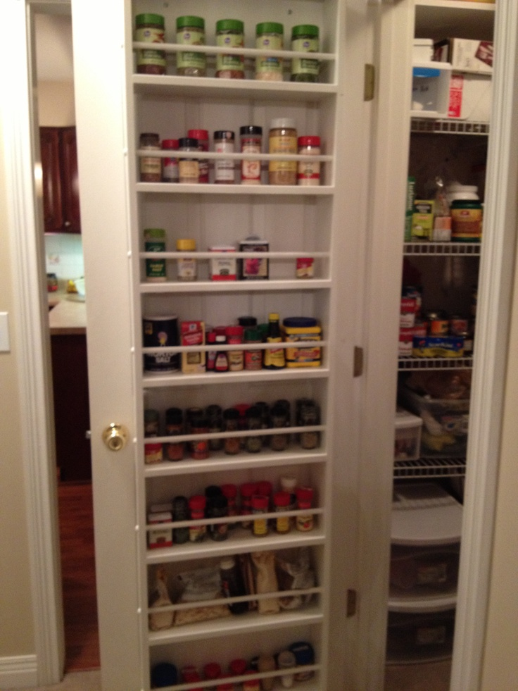 Behind the pantry door spice rack. I must do this along with the rubbermaid tubs & 8 best Spice rack images on Pinterest | Kitchen ideas Door spice ... Pezcame.Com