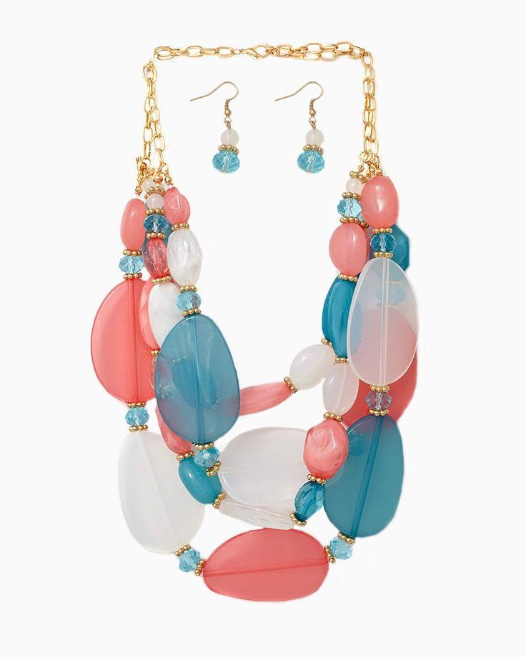 charming charlie   Chunky Iridescence Necklace Set   UPC: 410006750685 #charmingcharlie