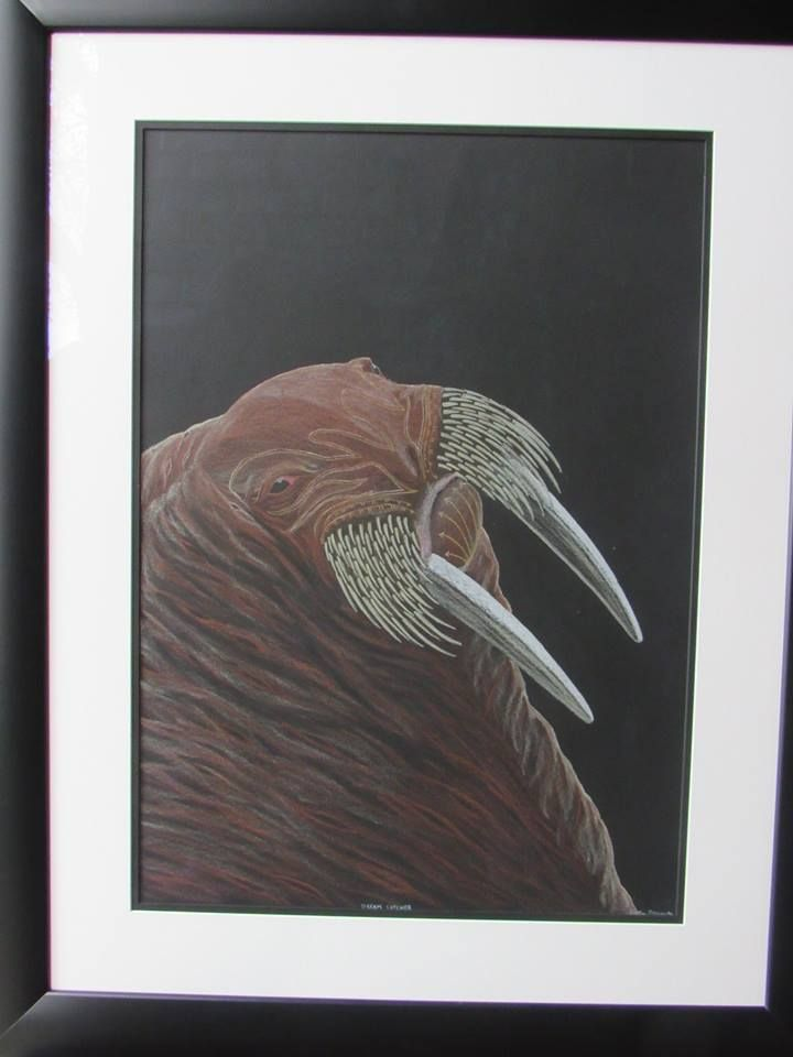 Tim Pitsiulak - Dream Catcher 30 x 22 Original coloured pencil drawing on paper from Gallery Indigena framed