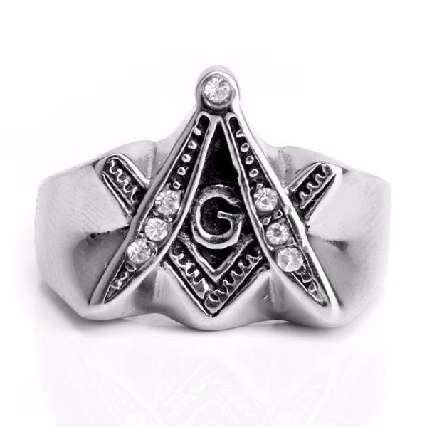 Extrude Compass & Square Freemason Ring