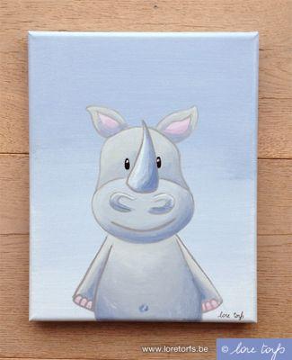 Canvas voor in baby- of kinderkamer -24×30 cm - neushoorn op lila achtergrond. Handgeschilderd!