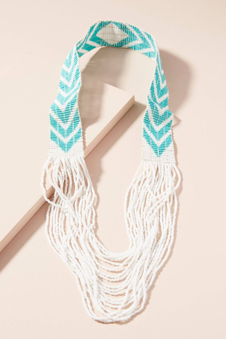 Slide View: 1: Beaded Chevron Necklace