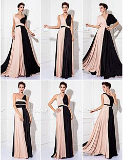 Sheath/Column Floor-length Knit Convertible Dress