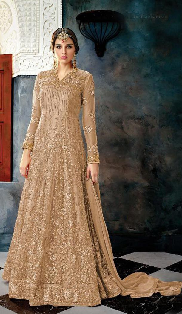 5be16edcae Biscuit Color Butterfly Net Designer Pakistani Anarkali Salwar Kameez  Valentine's Day Special 55% OFF Sale