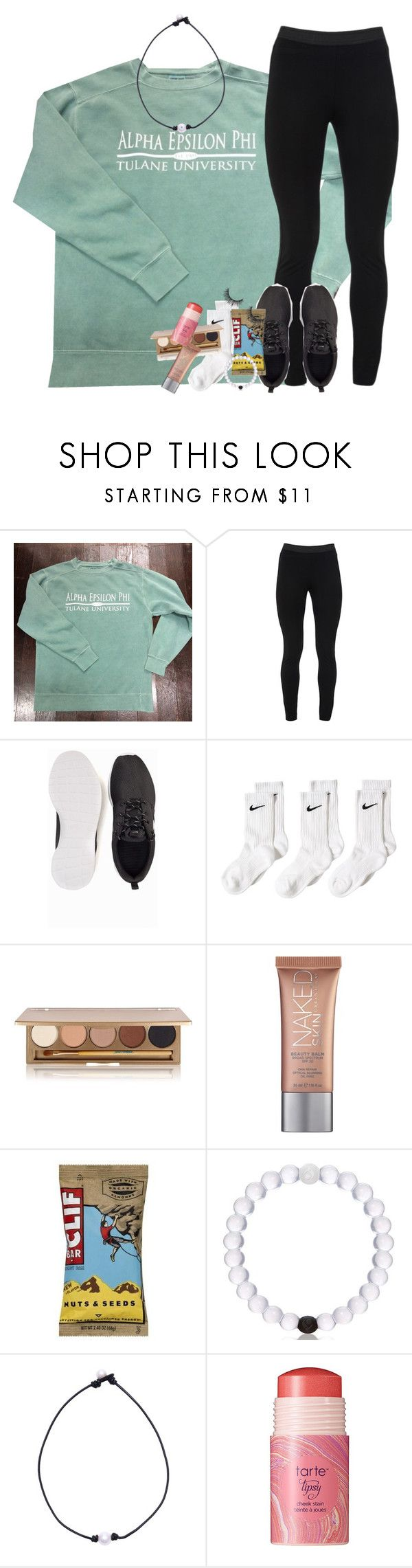 """""""lazy saturdays are bomb"""" by classynsouthern ❤ liked on Polyvore featuring Comfort Colors, Peace of Cloth, NIKE, Jane Iredale, Urban Decay and tarte"""