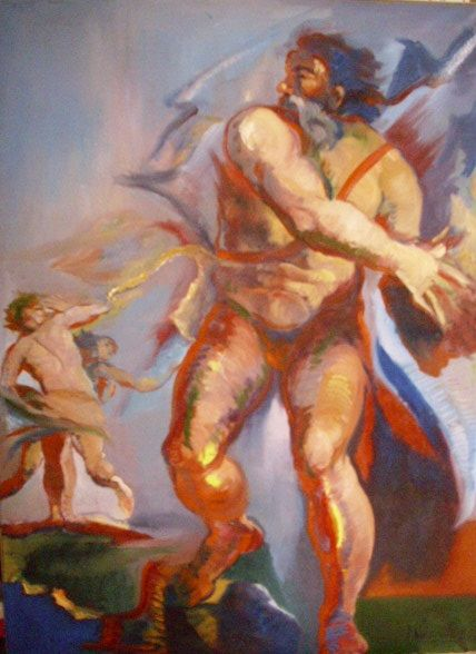Andrea Marra: Scontro di Titani (2012). Olio su tela