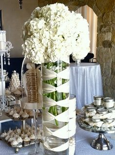 baby's breath centerpiece in tall vases | Wedding Tablescape Centerpiece Ribbon Wrapped Vases # white ...