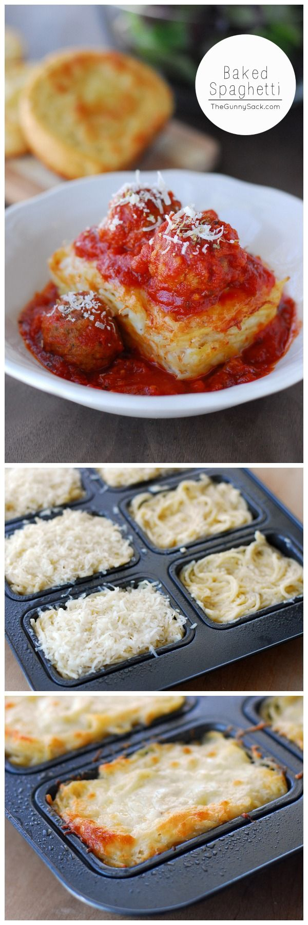 Baked Spaghetti recipe for mini loaves of creamy Alfredo baked spaghetti topped with meatballs and marinara sauce. Courtesy of @thegunnysack
