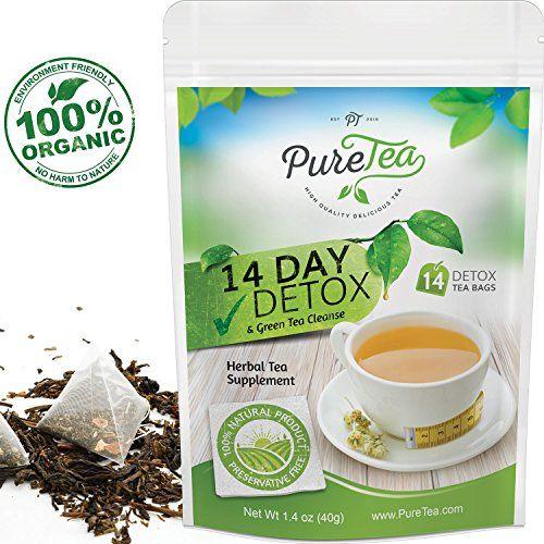 PureTea Detox Tea - Weight Loss Tea, Diet Tea, Skinny Tea, Body Cleanse, Herbal Tea 14 Day Green Tea Detox Diet, Teatox, 100% Organic Herbs, Lose Weight Fast, Liver and Colon Cleanse