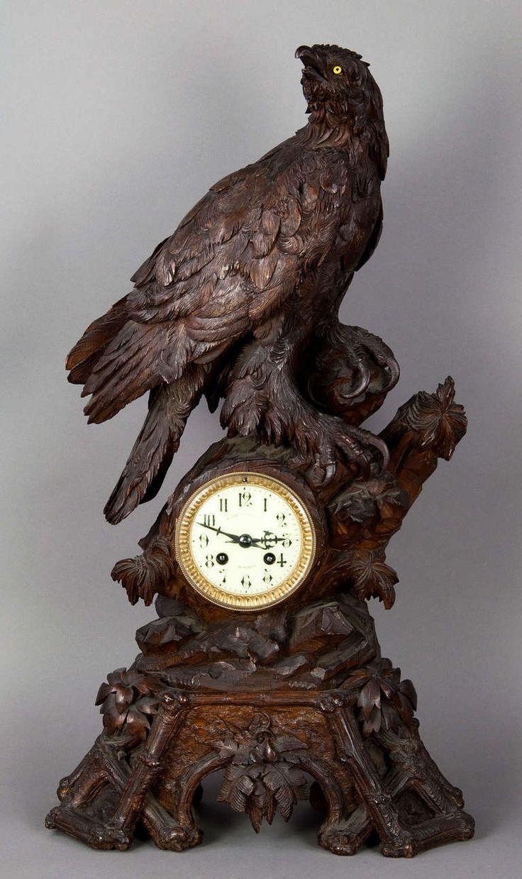 Huge old hand carved wood federal eagle folk art wooden eagle wall - Antique Carved Wood Eagle Table Clock Swiss 1900 Image 2