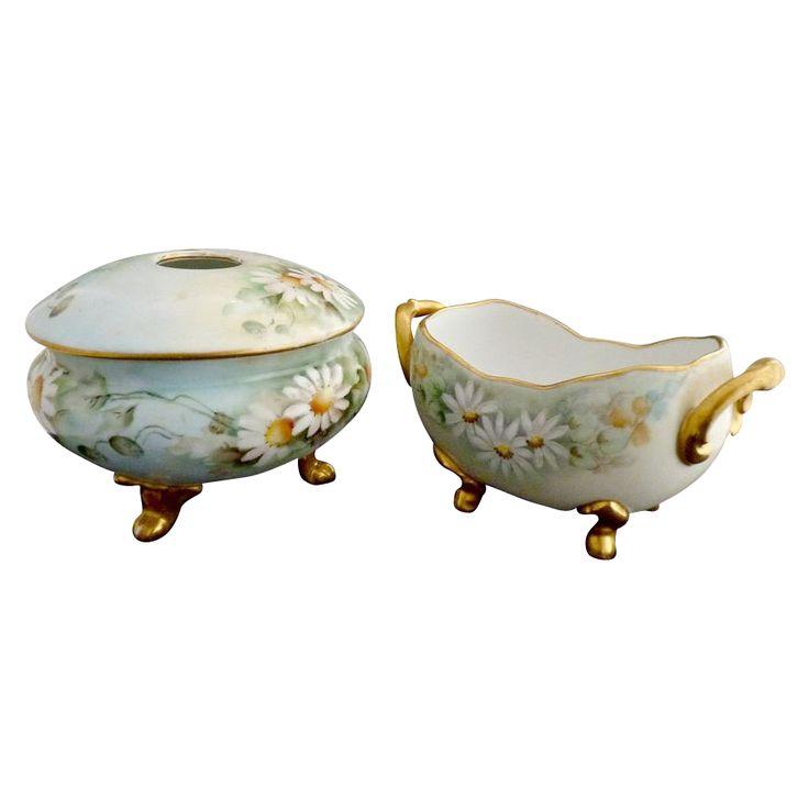 Antique porcelain soap dish hair receiver hand painted daisies Bavaria c. 1910 #vanity