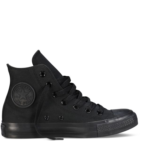 all black Converse Chuck Taylor Core Hi Tops. What Cj wants for wedding shoes along with everything else black black black black black.