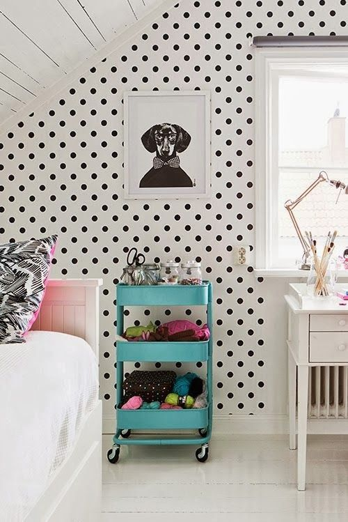 I love the polka dots and I know that cart is from IKEA. I need it. I want a picture like that of Maddox.