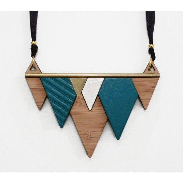 Collier MINIMAL bleu - LES PETITES DECOUPES / collier graphique triangle bambou lasercut