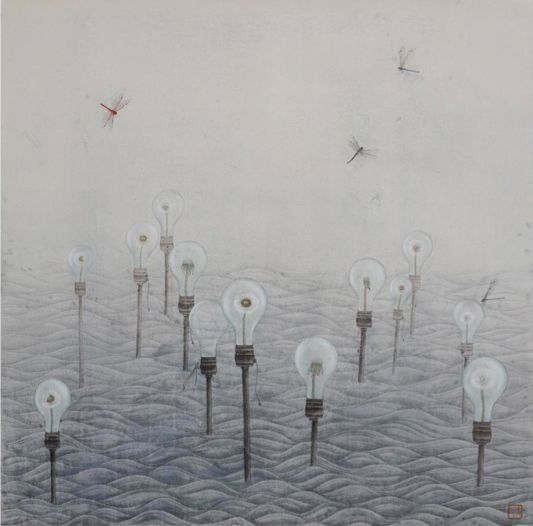 Eve Leung, The Moment II, 2011, Ink and Colour on Paper, 103x103cm, Reverie   Artify Gallery
